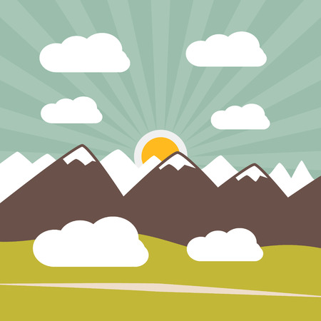 Retro Flat Design Nature Landscape Illustration with Sun, Hills and Clouds Vector
