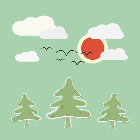Retro Flat Design Nature Landscape Illustration with Sun, Trees and Clouds Vector