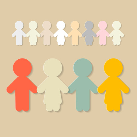 Paper People Holding Hands Illustration Vector