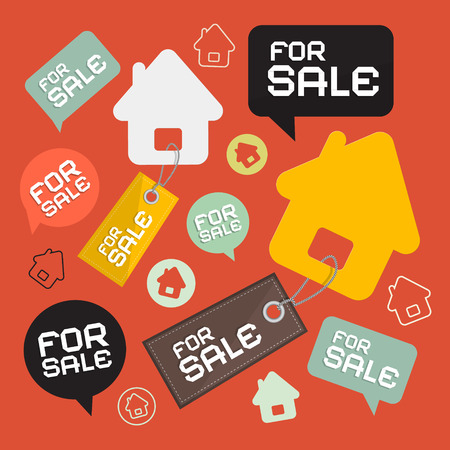 house for sale: House For Sale Retro Paper Icons Set