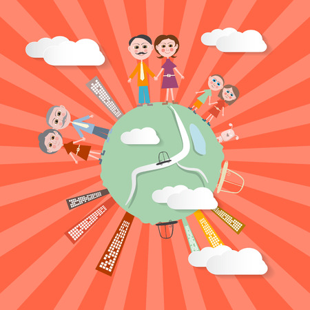 Vector People on Globe - Retro Illustration Vector