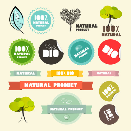 Vector Natural Product Flat Design Retro Labels - Tags - Stickers Set  Vector