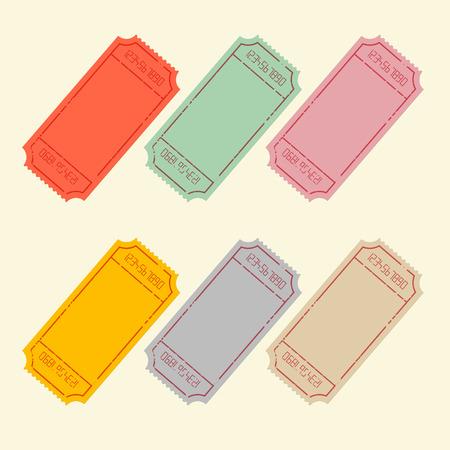 レトロなベクトル チケット設定の図  イラスト・ベクター素材