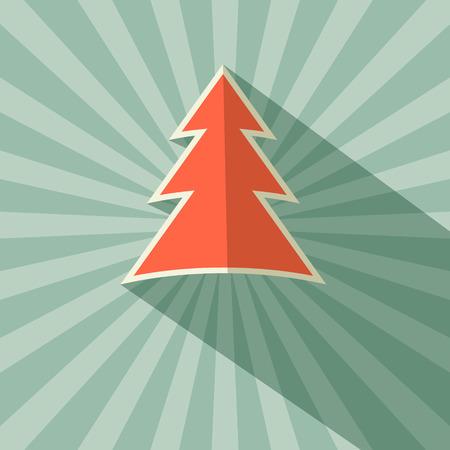 Paper Tree Retro Vector Illustration on Green Background Vector