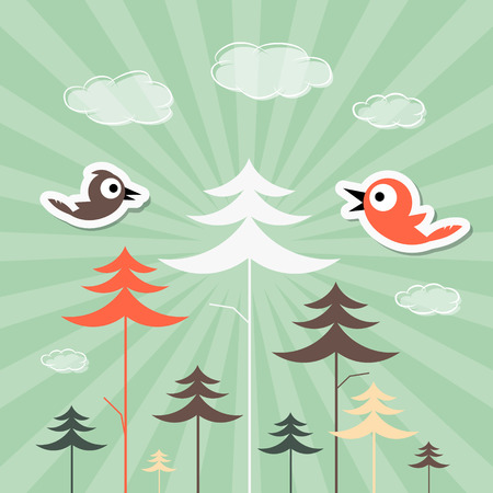 Retro Paper Forest and Birds Vector Illustration Vector