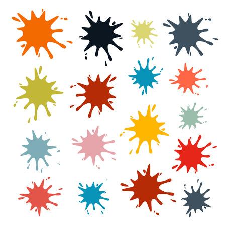 Colorful Vector Splashes Set Isolated on White Background