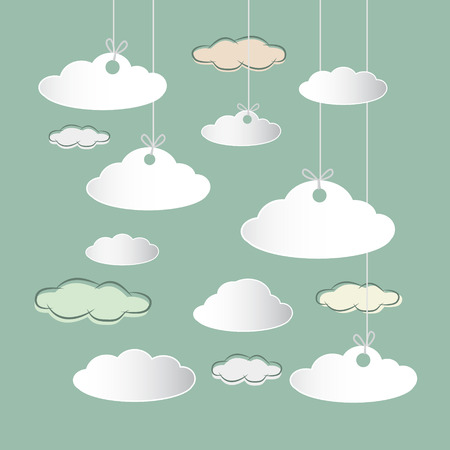 Vector Clouds Hung on Strings on Retro Sky Background