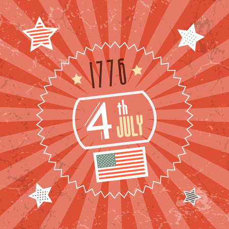 Fourth July 1776 Independence Day Red Retro Background Vector