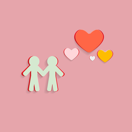 Paper Cut People and Hearts on Pink Background Vector