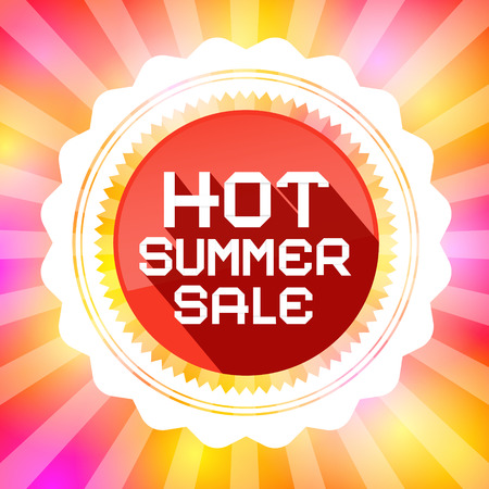 spring sale: Hot Summer Sale Retro Vector Illustration on Colorful Background