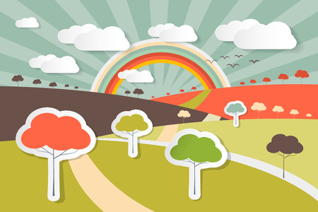 rural scene: Nature Landscape Rural Scene Illustration with Paper Trees