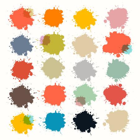 Transparent Colorful Retro Vector Stains, Blots, Splashes Set
