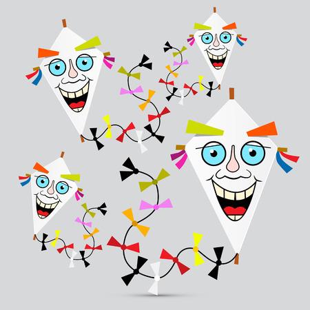 paper kites: Paper Kites Illustration on Grey Background