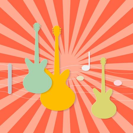 frets: Resumen Guitars papel sobre fondo rojo retro