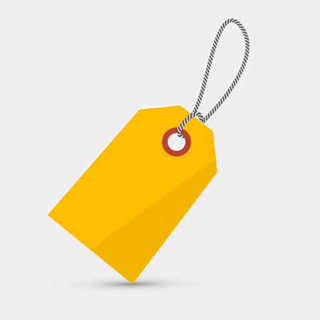 Empty Yellow Label, Tag With String Illustration