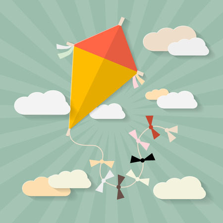 paper kite: Retro Paper Kite on Sky with Clouds Illustration Illustration