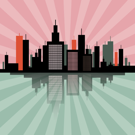 lake district: Evening - Morning City Scape Retro Skyline Illustration