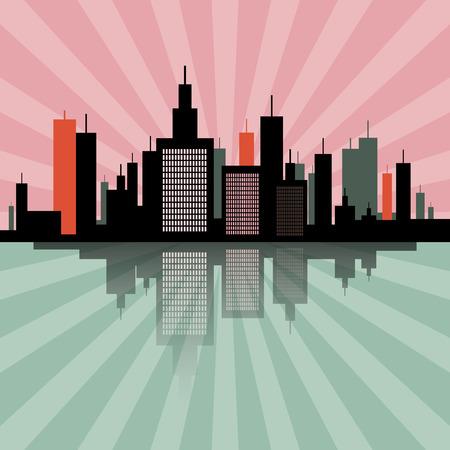 lake district: Evening - Morning City Scape Retro Skyline Illustration