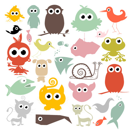 Colorful Simple Animals Silhouette Set Vector