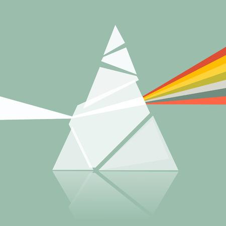 복고풍 배경에 프리즘 스펙트럼 그림 일러스트