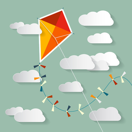 paper kite: Vector Paper Kite on Sky with Clouds Illustration