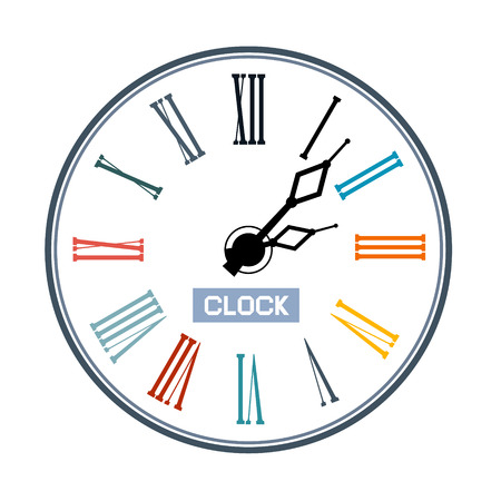 Retro Abstract Clock Face Illustration Vector