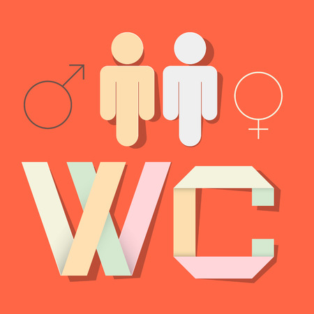 WC Title with Paper Cut People and Man Woman Symbols Vector