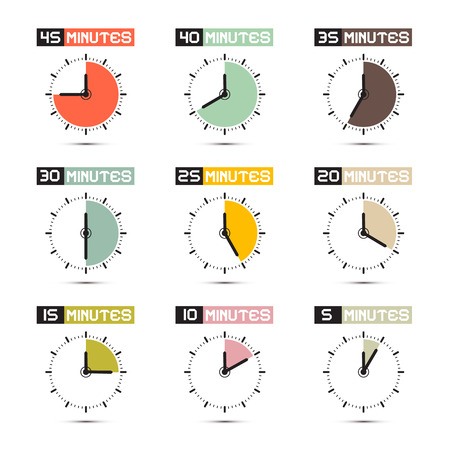 Clock Face Vector Illustration Set