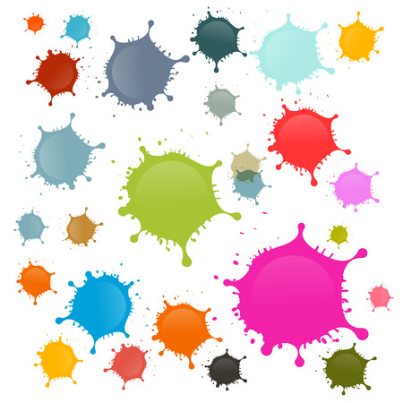 Colorful Vector Stains, Blots, Splashes Set Isolated on White Background Illustration