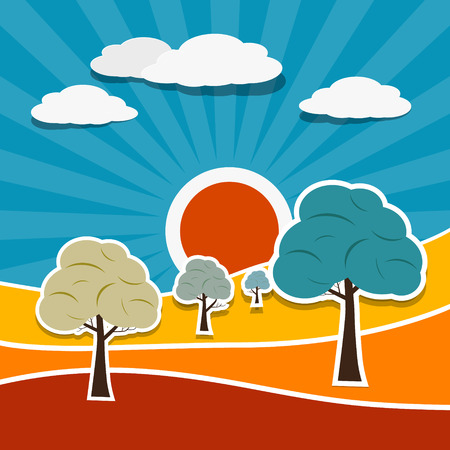 Vector Landscape Illustration with Paper Trees Vector