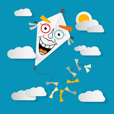 sun illustration: Paper Kite on Sky with Clouds and Sun Illustration