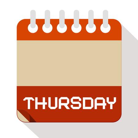 thursday: Thursday Paper Calendar Illustration