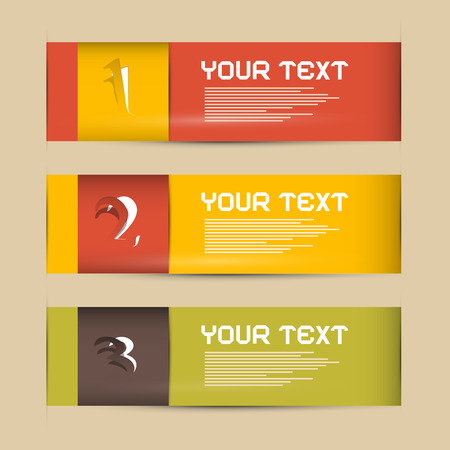 One, Two, Three Paper Progress Steps for Tutorial, Infographics  Vector