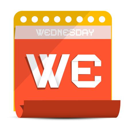 wednesday: Wednesday Paper Calendar Illustration