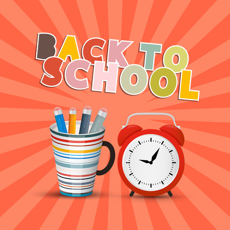 Back to School Retro with Paper Cut Title Vector