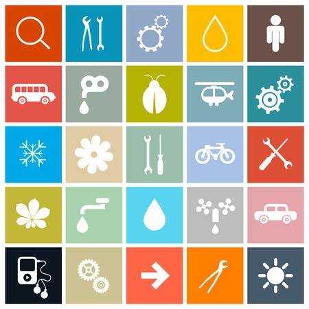 Flat Design Square Icons Set Vector