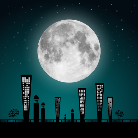 Abstract Full Moon Landscape Illustration Vector