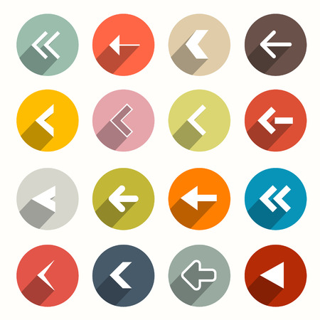 Flat Design Arrows Set in Circles Vector