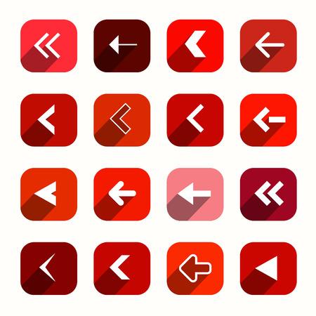 모서리가 둥근 사각형에 위치한 붉은 벡터 평면 디자인 화살표 일러스트