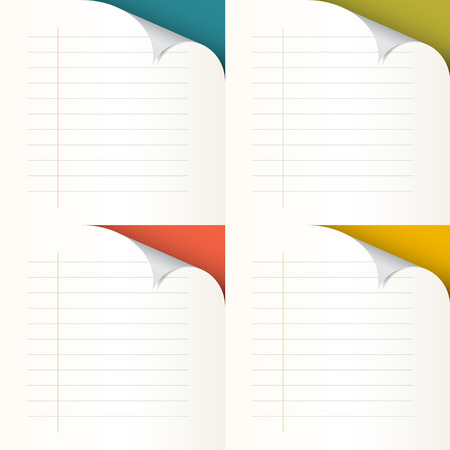 Lined Papers Set with Bent Corners - Illustration  Vector