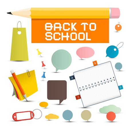 sign holder: Vector Back to School Objects Illustration