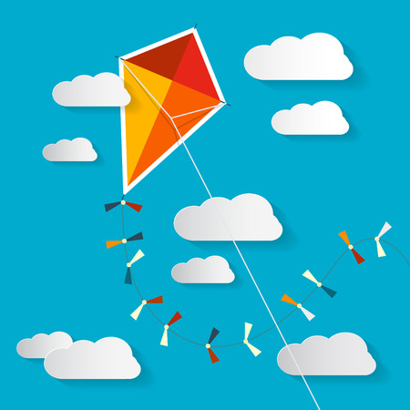paper kite: Paper Kite on Blue Sky with Clouds Illustration