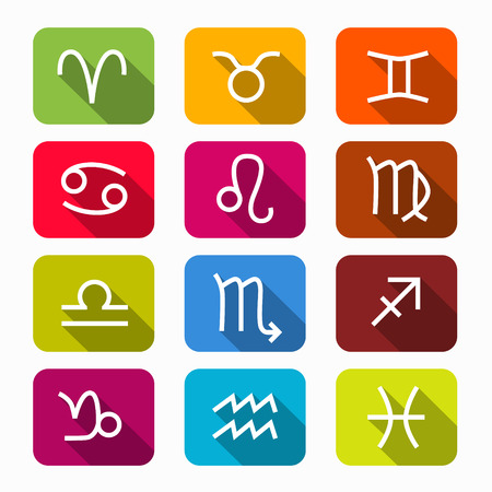 Zodiac, Horoscope Colorful Vector Symbols on Rounded Squares Vector