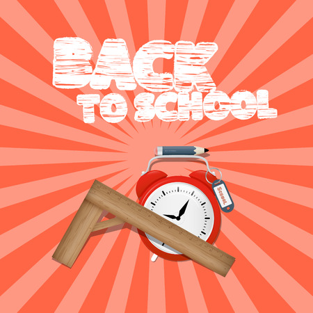 secondary colors: Vector Back to School Retro Illustration with Alarm Clock and Ruler