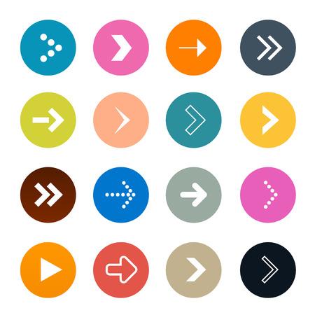 flechas: Flechas del vector fijadas en los círculos aislados en el fondo blanco