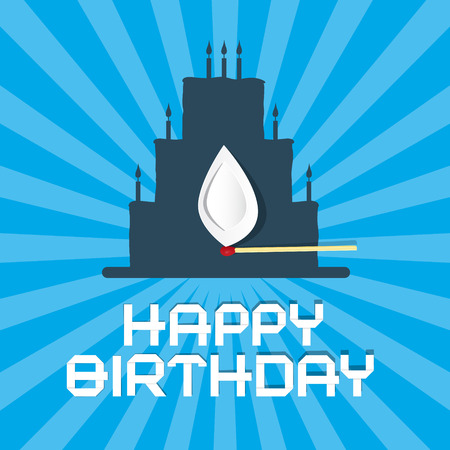 burning paper: Happy Birthday Blue Background Illustration with Cake Silhouette and Paper  Burning Match