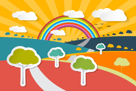 summer sky: Retro Vector Landscape Illustration - Rural Paper Background with Trees, Rainbow and Clouds