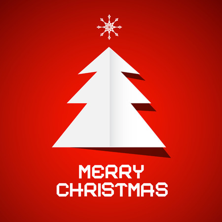 Red Vector Merry Christmas Background with Paper Tree Vector
