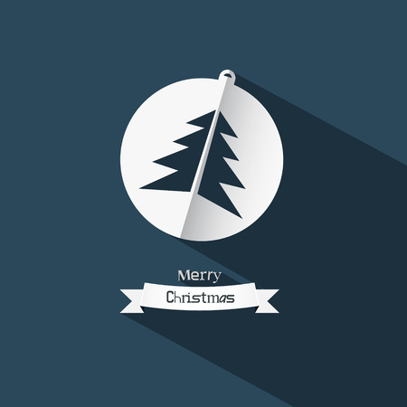 Vector Christmas Ball and Tree Made from Paper on Blue Background Vector
