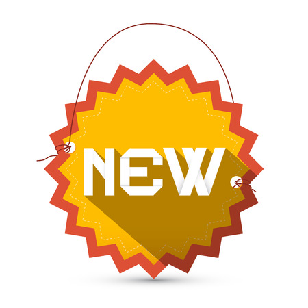 New Yellow and Red New Star Shaped Label - Tag with String - Vector Illustration Vector